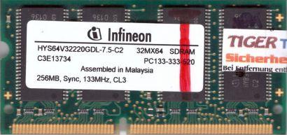 Infineon HYS64V32220GDL-7.5-C2 PC133 256MB SDRAM 133MHz SODIMM SD RAM* lr72