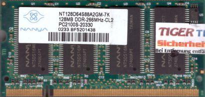 Nanya NT128D64S88A2GM-7K PC-2100 128MB DDR1 266MHz SODIMM Arbeitsspeicher* lr76