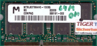 Micron MT8LSDT864HG-10EB5 PC100 64MB SDRAM 100MHz SODIMM Arbeitsspeicher* lr78