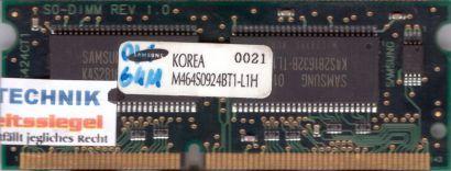 Samsung M464S0924BT1-L1H PC100 64MB SDRAM 100MHz SODIMM Arbeitsspeicher* lr80