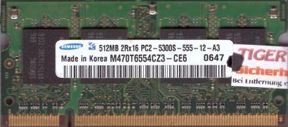 Samsung M470T6554CZ3-CE6 PC2-5300 512MB DDR2 667MHz SODIMM Arbeitsspeicher* lr83