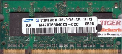 Samsung M470T6554CZ3-CCC PC2-3200 512MB DDR2 400MHz SODIMM Arbeitsspeicher* lr84