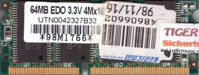Mosel Vitelic UTN0042327B32 64MB SODIMM EDO 3.3V RAM Arbeitsspeicher* lr88