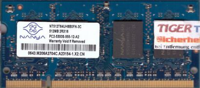 Nanya NT512T64UH8B0FN-3C PC2-5300 512MB DDR2 667MHz SODIMM Arbeitsspeicher* lr92