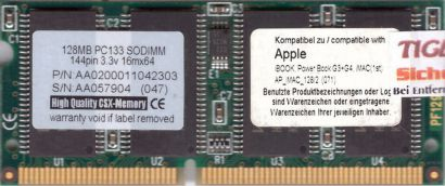 PC133 128MB SDRAM 133MHz SODIMM RAM Apple iBook Powerbook G3 G4 kompatibel* lr93