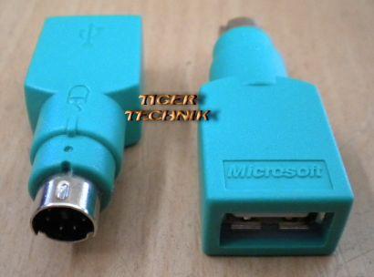 Microsoft USB auf PS2 Maus Adapter Stecker Grün* pz37
