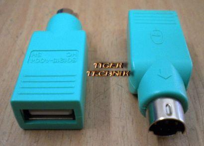 USB auf PS2 Maus Adapter Stecker Grün pz38