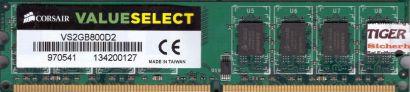 Corsair ValueSelect VS2GB800D2 PC2-6400 2GB DDR2 800MHz Arbeitsspeicher RAM*r636