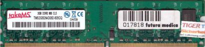 takeMS TMS2GB264D082-805CQ PC2-6400 2GB DDR2 800MHz CL5 Arbeitsspeicher RAM*r651