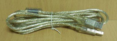 USB 2.0 Kabel transparent 3m Typ A Stecker Typ B Stecker Drucker Scanner* pz716