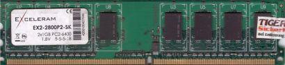 Exceleram EX2-2800P2-SK PC2-6400 1GB DDR2 800MHz CL5 Arbeitsspeicher RAM* r652