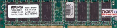 Buffalo DD4333-512 MG PC3200 CL3 512MB DDR1 400MHz Arbeitsspeicher RAM* r660