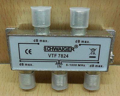 Schwaiger VTF 7824 SAT Verteiler 4 fach 1x In 4x Out Frequenzen 5-1000MHz* so795
