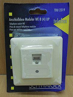 Schwaiger Telefon Aufputz Anschlussdose Modular WE 8 4 UP z.B. Telefon FAX*so798