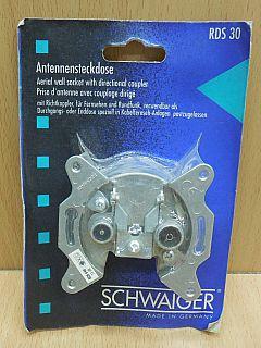 Schwaiger RDS30 Antennensteckdose 15dB 2-loch Durchgangs Antennen dose* So802