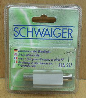 Schwaiger FLA 527 Radio 2 fach Zweifach Verteiler Koax Stecker 2x Kupplung*so806