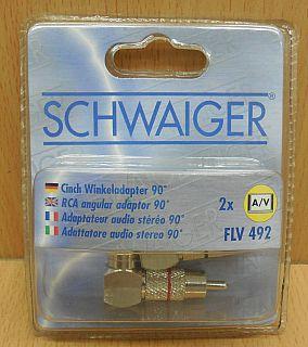 Schwaiger FLV 492 2x AV Cinch Winkeladapter Winkel Adapter Metallstecker* so807
