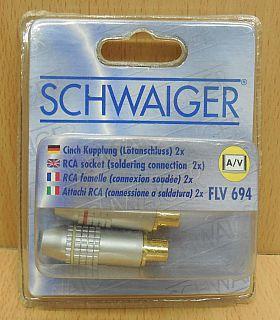 Schwaiger FLV 694 2x AV Cinch Kupplung (Lötanschluss) vergoldete Kontakte* so808