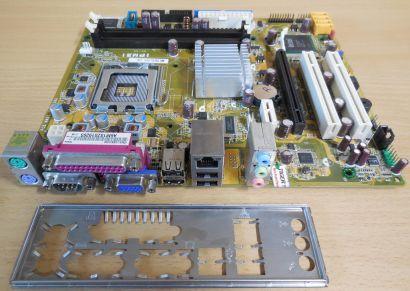 Pegatron IPM31 Rev 1.01G Mainboard +Blende Sockel 775 DDR2 PCIe GbE LAN VGA*m911