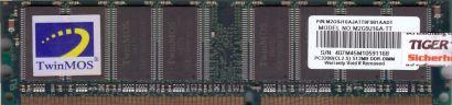 TwinMOS M2G9J16A TT PC 3200 512MB DDR1 400MHz CL2.5 Arbeitsspeicher RAM* r689