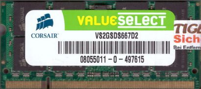 Corsair Value Select VS2GSDS667D2 PC2-5300 2GB DDR2 667MHz SODIMM RAM* lr94