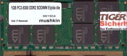 mushkin 991504 PC2-5300 1GB DDR2 667MHz SODIMM Arbeitsspeicher RAM* lr97