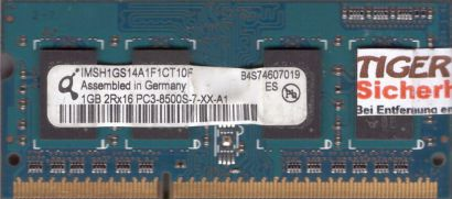 Qimonda IMSH1GS14A1F1CT10F PC3-8500 1GB DDR3 1066MHz SODIMM RAM* lr100