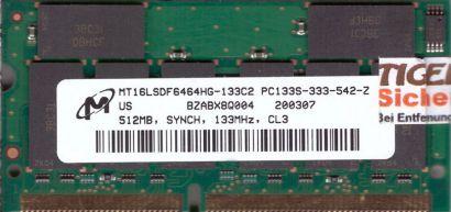 Micron MT16LSDF6464HG-133C2 PC133 512MB CL3 SDRAM 133MHz SODIMM SD RAM* lr105