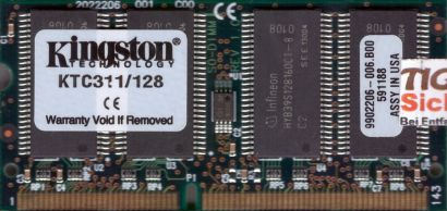 Kingston KTC311 128 PC100 128MB SDRAM 100MHz SODIMM 9902206-006 B00 SD RAM*lr108