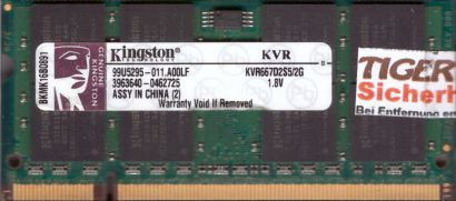 Kingston KVR667D2S5 2G PC2-5300 2GB DDR2 667MHz SODIMM 99U5295-011 A00LF* lr109