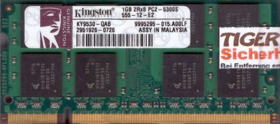 Kingston KY9530-QAB PC2-5300 1GB DDR2 667MHz SODIMM 9995295-015 A00LF RAM* lr112