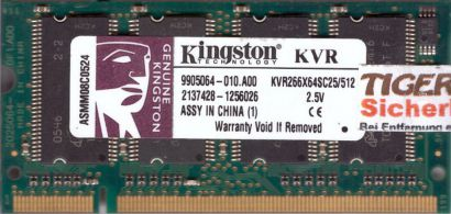 Kingston KVR266X64SC25 512 PC-2100 512MB DDR1 266MHz 9905064-010 A00 RAM* lr114