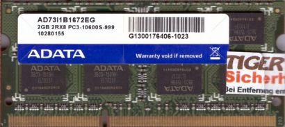AData AD73I1B1672EG PC3-10600S 2GB DDR3 1333MHz SODIMM Arbeitsspeicher RAM*lr118