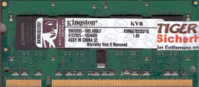 Kingston KVR667D2S5 1G PC2-5300 1GB DDR2 667MHz SODIMM 99U5293-009 A00LF* lr119