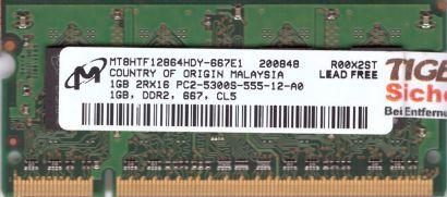 Micron MT8HTF12864HDY-667E1 PC2-5300 1GB DDR2 667MHz SODIMM RAM* lr120