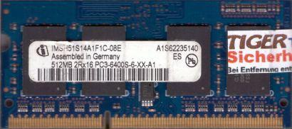 Infineon IMSH51S14A1F1C-08E PC3-6400 512MB DDR3 800MHz SODIMM RAM* lr121