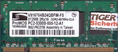 ProMos V916764B24QBFW-F5 PC2-5300 512MB DDR2 667MHz SODIMM RAM* lr122