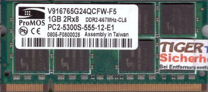 ProMos V916765G24QCFW-F5 PC2-5300 1GB DDR2 667MHz SODIMM Arbeitsspeicher* lr124