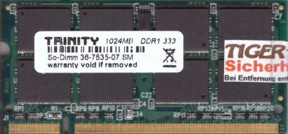 Trinity PC-2700 1GB DDR1 333MHz SODIMM Arbeitsspeicher RAM* lr125