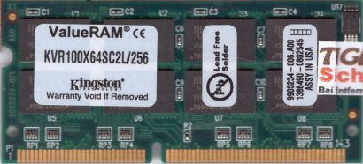 Kingston KVR100X64SC2L 256 PC100 256MB SDRAM 100MHz SODIMM 9905234-006 A00*lr127