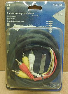 Schwaiger SCA 7196 Adapter Kabel 2m Scart 2xVideo 4xAudio Cinch Stecker* so814