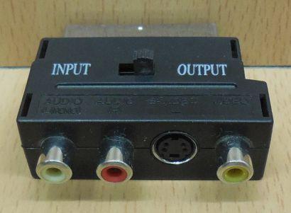 Scart Audio Video AV Adapter 3x Cinch Buchse S VHS Scart Stecker In Out* so824