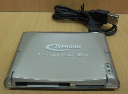 Typhoon Multi Slot 8 in 1 USB 2.0 Kartenleser Laptop Notebook Computer PC* kl47