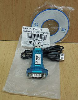 2 tech USB RS232 COM Seriell Adapter Serial blau mit CD und ca 70cm Kabel* pz783
