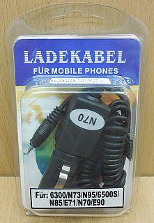 Auto Ladekabel KFZ Charger für Nokia 6300 6500S N70 N73 N90 N95 E71 E90* ant11