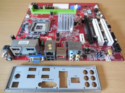MSI MS-7504 Ver1.1 Mainboard +Blende Sockel 775 FSC-OEM VGA DDR2 LAN Audio* m927