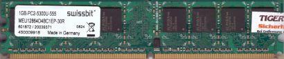 Swissbit MEU12864D4BC1EP-30R PC2-5300 1GB DDR2 667MHz Arbeitsspeicher RAM* r703
