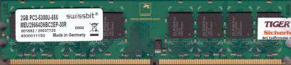 Swissbit MEU25664D6BC2EP-30R PC2-5300 2GB DDR2 667MHz RAM Arbeitsspeicher* r705