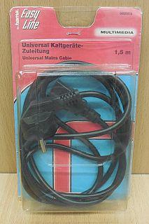 Easy Line by hama Kaltgeräte Stromkabel Schuko 3pol IEC Stecker 1,5m* pz796