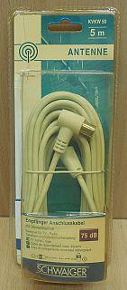 Schwaiger Antennen Empfänger Anschluss Kabel 5m Koax Stecker Winkelbuchse*so843